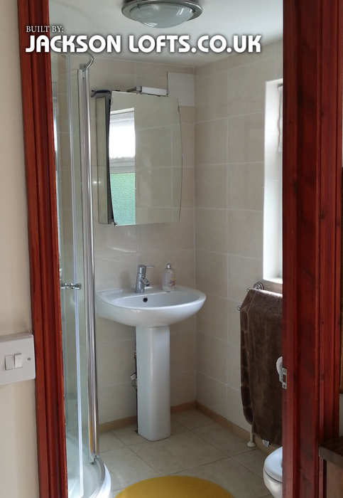 Shower room built in dormer loft conversion installed and built by Jackson Loft Brighton East Sussex