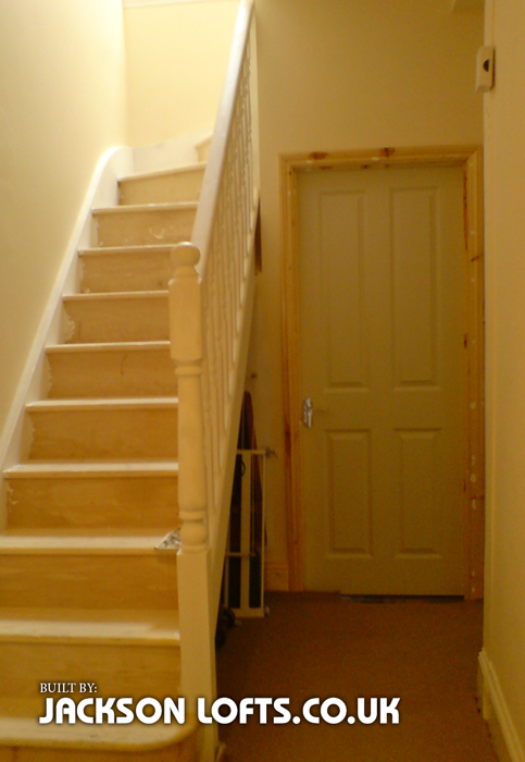 First floor flat loft conversion staircase, built by Jackson Lofts