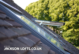 A Velux window installed in a loft conversion built by Jackson Lofts