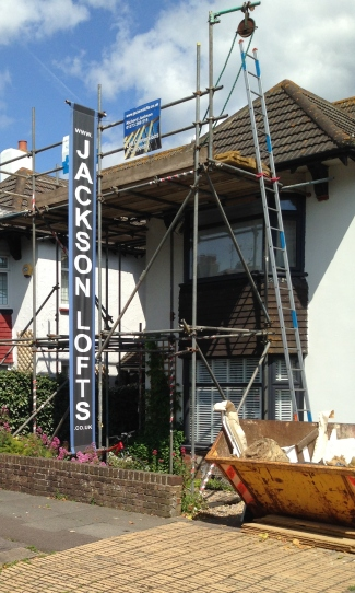 Jackson Lofts Trade Banner printed by Budgeprint, Hove and design by Freelance Artworker Sarahjane Jackson
