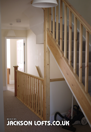 Terrace house loft conversion staircase with storage built by Jackson Lofts, Brighton