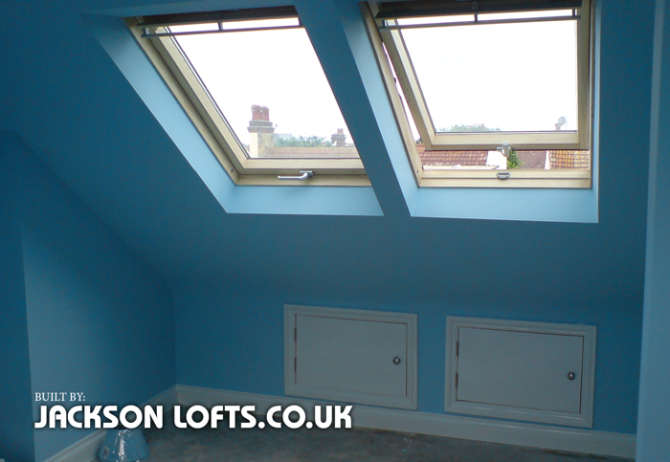 A double Velux window replacement by Jackson Lofts in Brighton