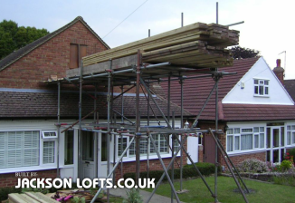 1950s bungalow loft conversion, materials delivery day by Jackson Lofts
