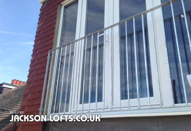 Juliet Balcony with railings on a loft conversion built by Jackson Lofts