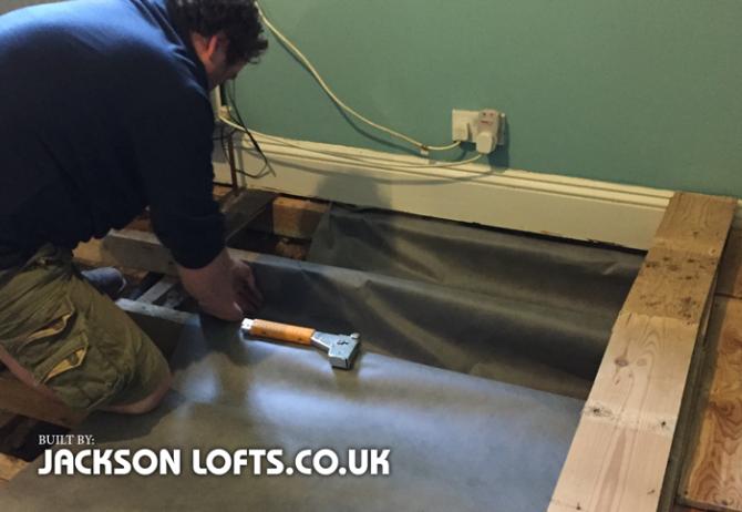 Insulation under floor boards in Victorian house, Jackson Lofts, Brighton