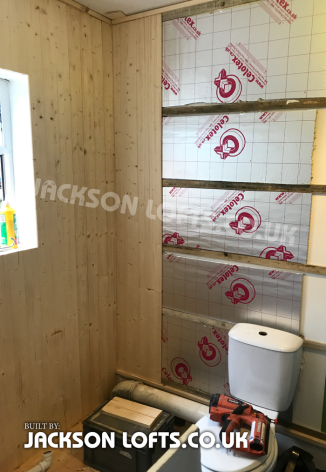 Insulating bathroom walls to stop condensation and mildew built by Richard Jackson Carpenter