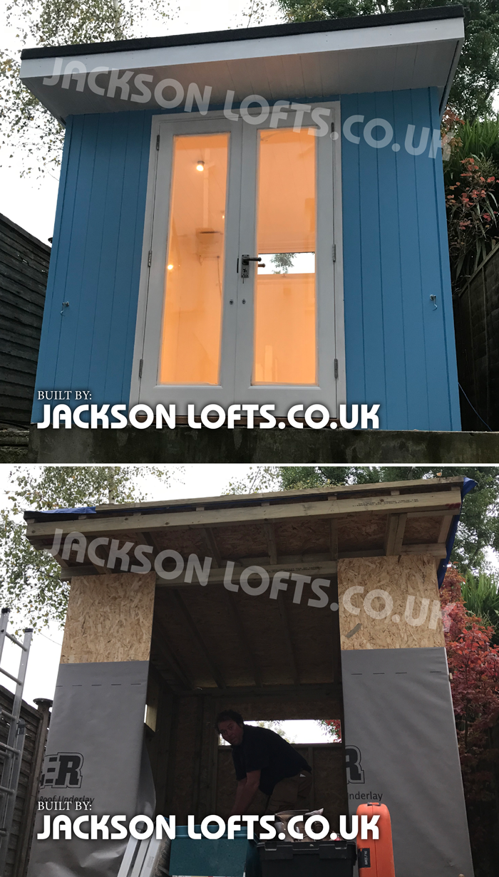 Bespoke carpenter built studio office in a small terrace house garden built by Jackson Lofts Carpenter