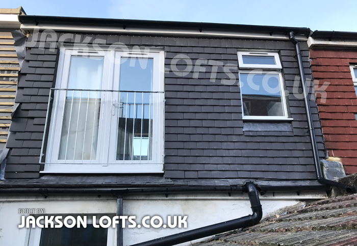 Juliet balcony on dormer loft conversion built by Jackson Loft Conversion